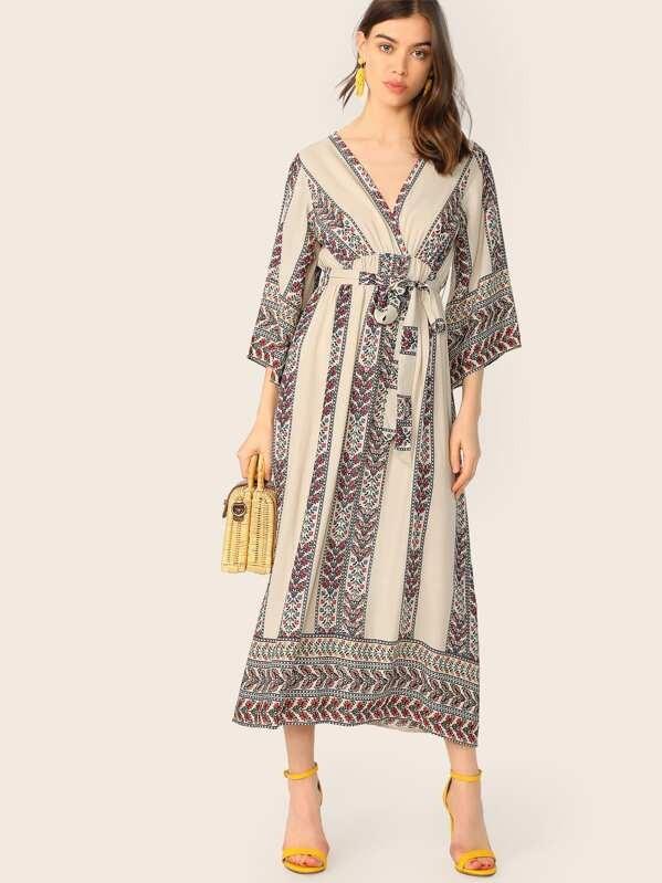 2020 New Design Vintage Bell Sleeve Print Belted Dress