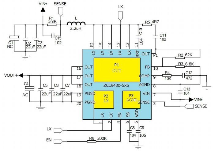ZCC9430集成MOSFET同步升压IC