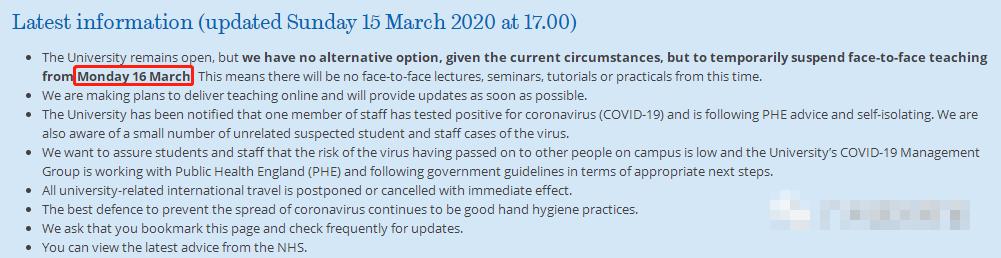 英国22所大学对应新冠病毒调整对策