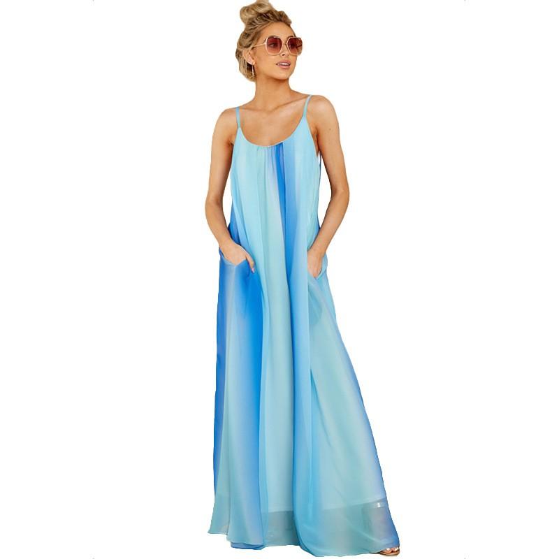 Summer Lady Gradient Chiffon Sexy Halter Maxi Dresses Packet Loose Dress