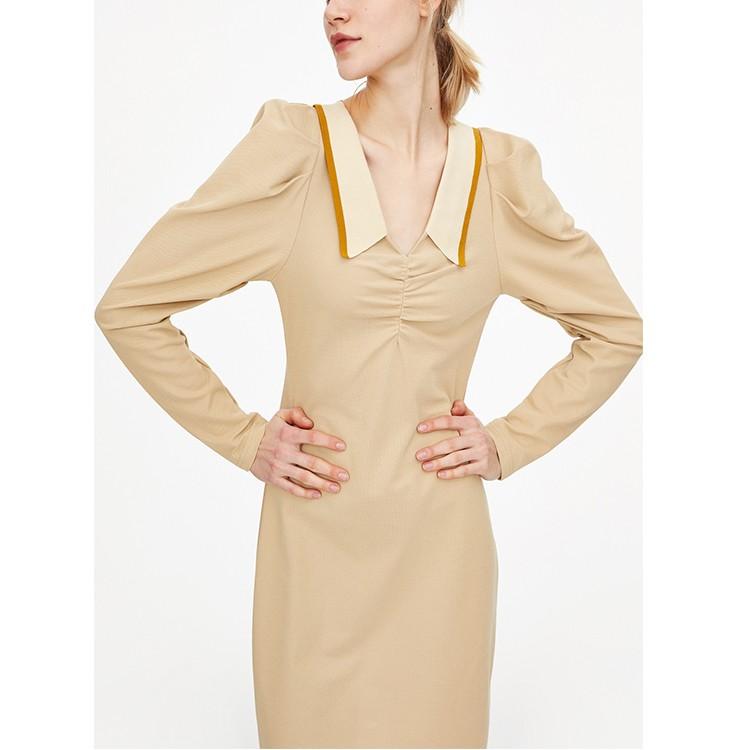 Spring Fashion Elegant V-neck Long Sleeve Dress Vintage Casual Women Dresses