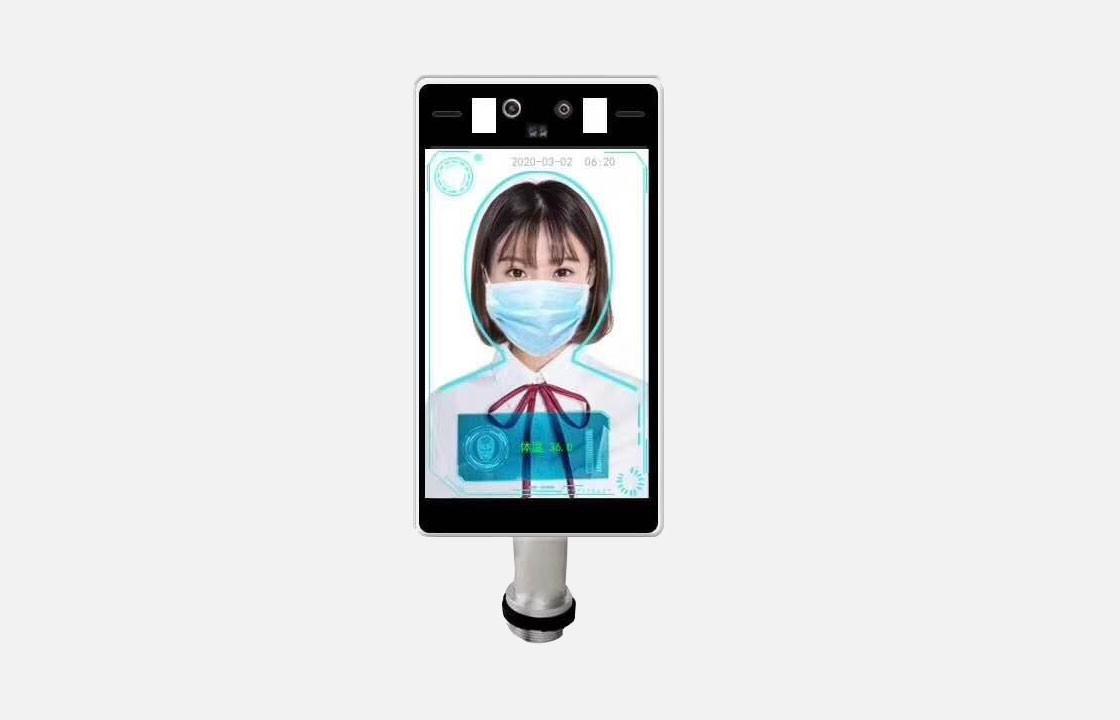 8寸人臉識別體溫檢測面板機
