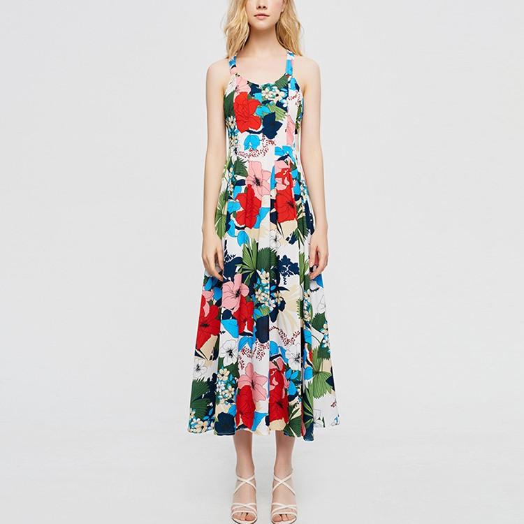 Summer High Waist Floral Print Casual Maxi Dress For Women