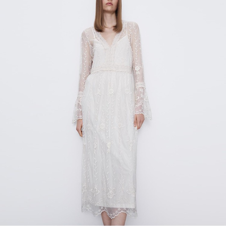 Spring Summer Veil Embroidery Two-pieces Dress Casual V-neck Maxi Dress