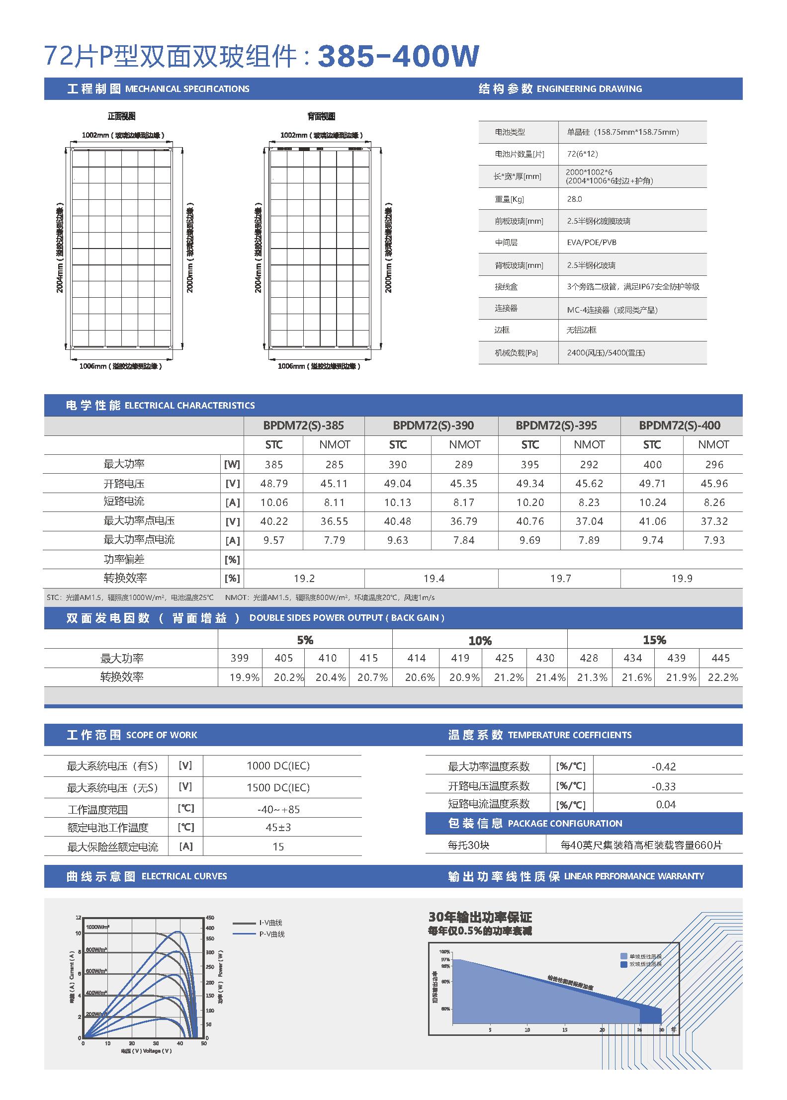 BPDM72-385-400-72片P型单晶双面双玻