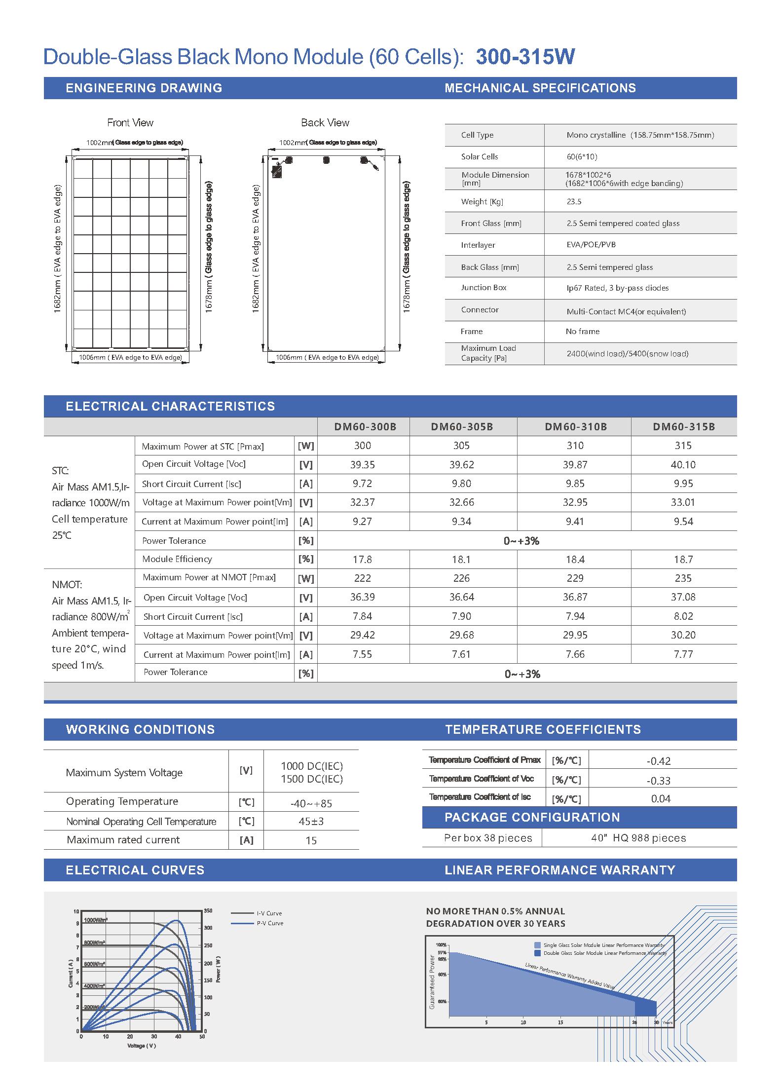 DM60-300-315B Black Mono Double-Glass 158mm
