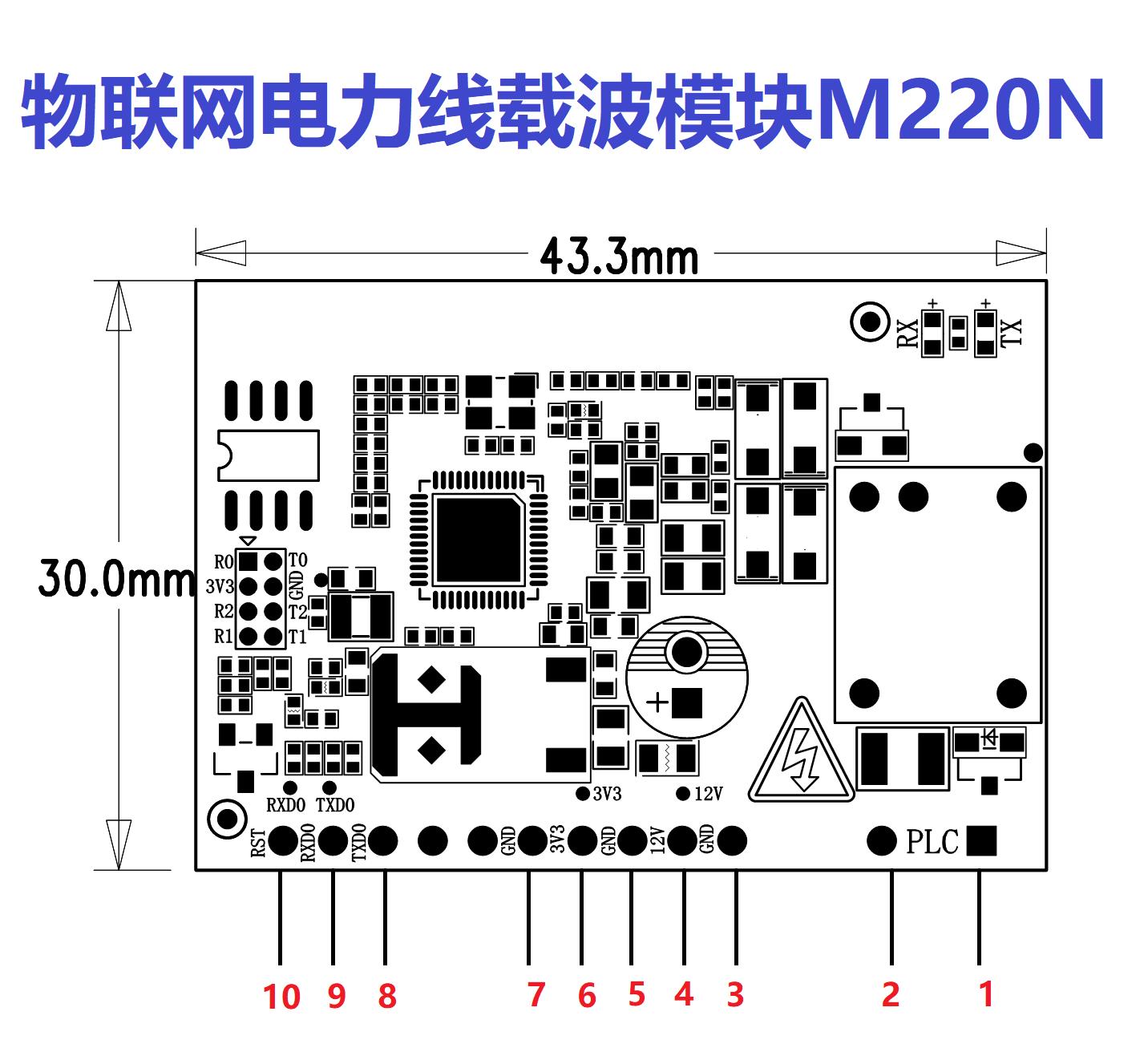 超远距离高速物联网宽带电力线载波通讯模块M220N