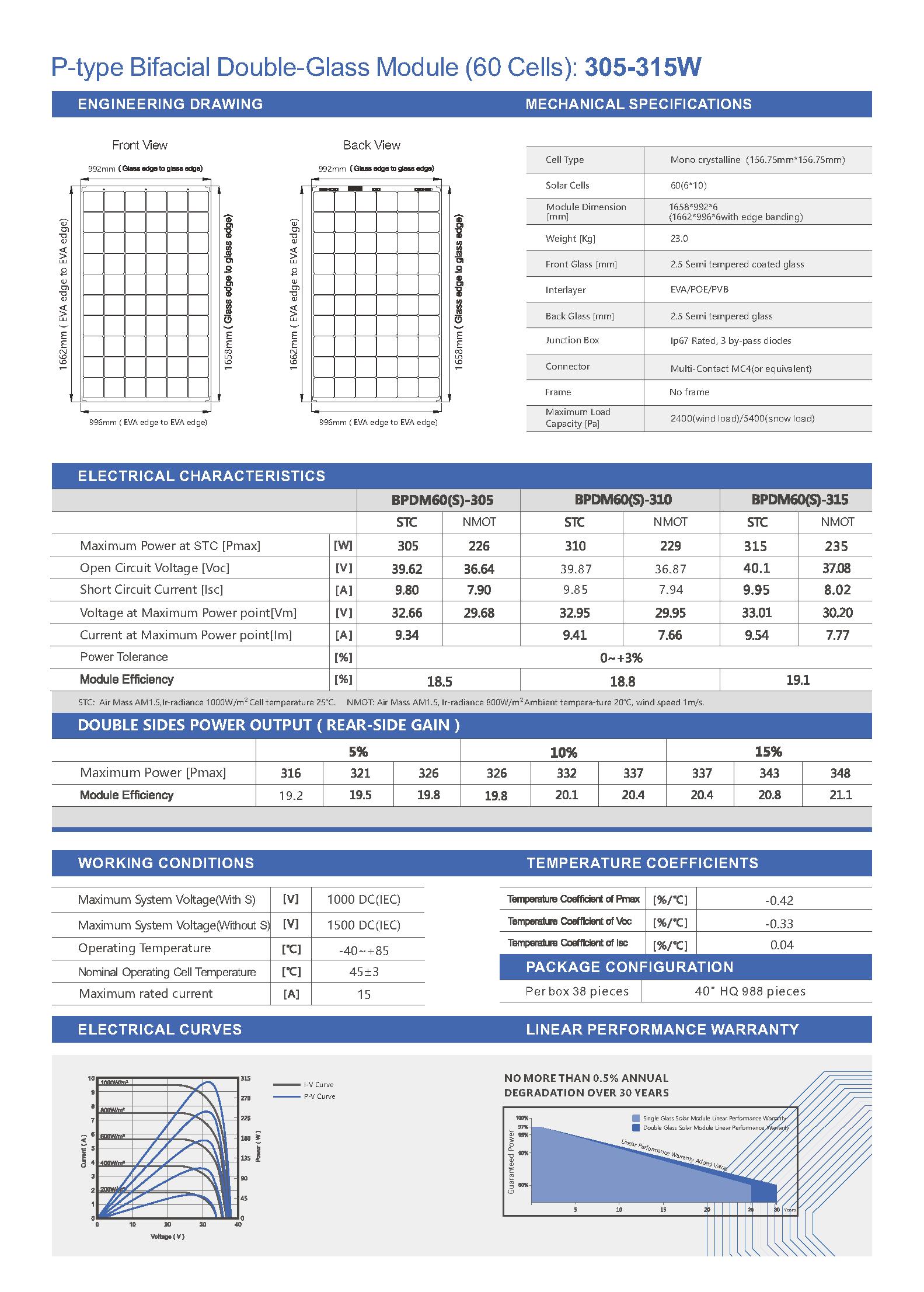 BPDM60-305-315 P-type Mono Bifacial 156mm