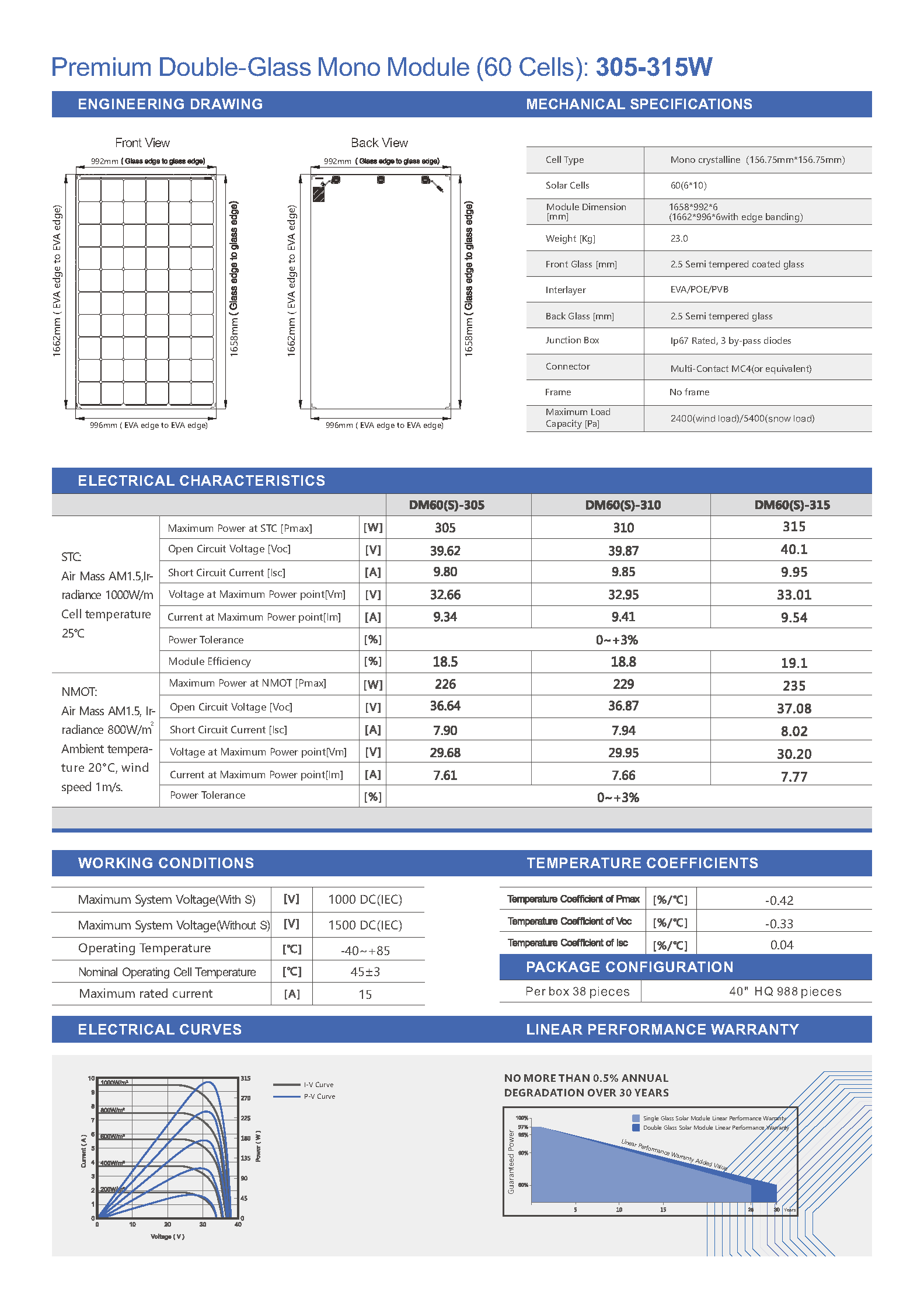DM60-305-315 Mono Double-Glass 156mm