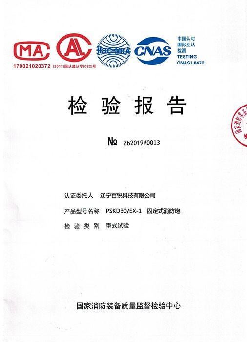 固定式雷竞技官网炮PSKD30-Ex-1检验报告