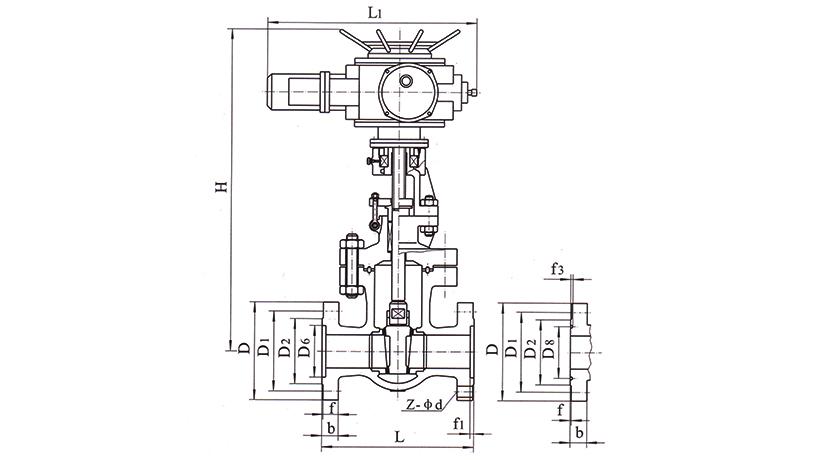 OSAZ941H、OSAZ941Y、OSAZ940H、OSAZ940Y型电动法兰楔式闸阀
