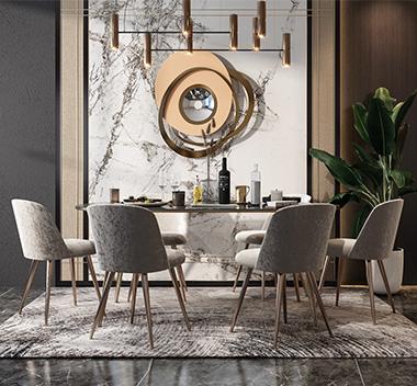 现代轻奢餐桌椅组合3d模型