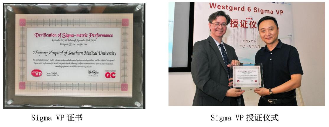科室通过了 Westgard Sigma VP 认证