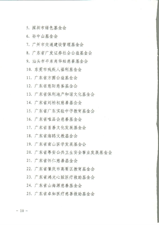 2017/2018年广东省省级公益性捐赠税前扣除资格确认名单