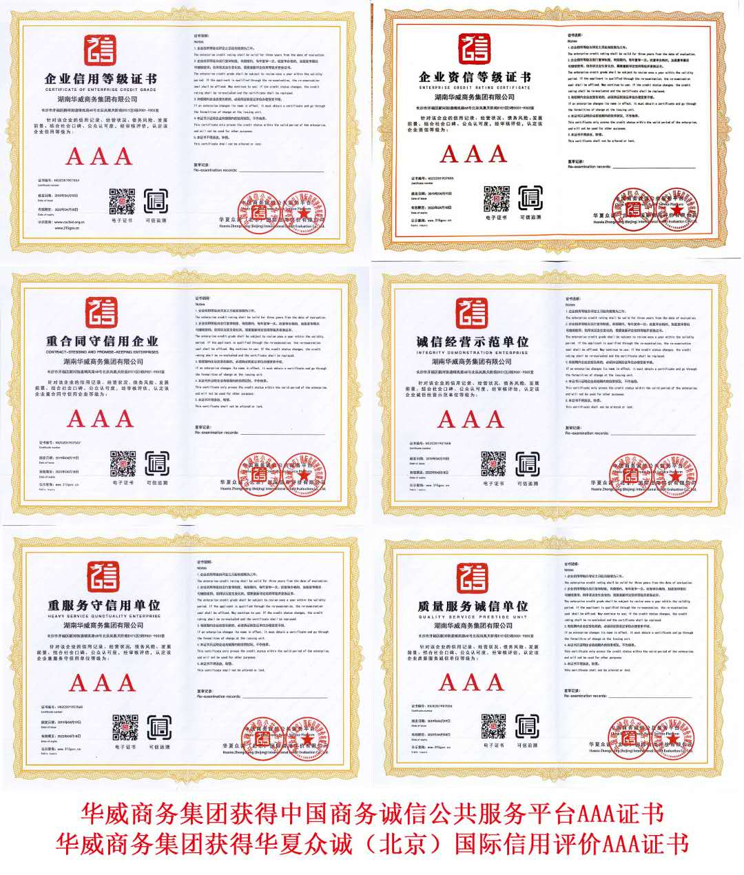 华威商务集团企业集团登记证