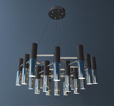 现代轻奢金属吊灯3d模型