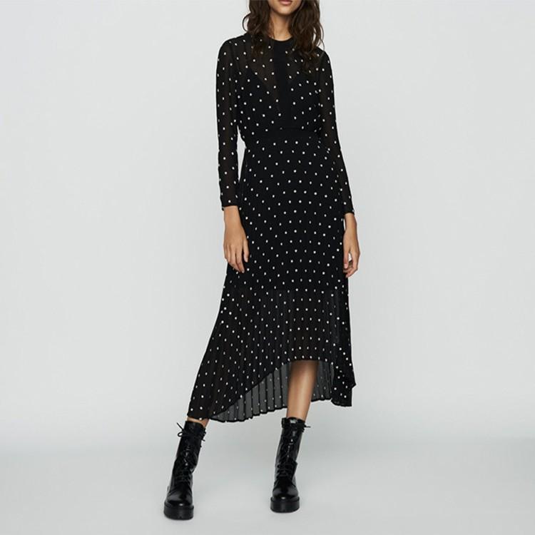 Summer Floral Print Elegant Asymmetric Dress For Women O-neck Long Sleeve Dress