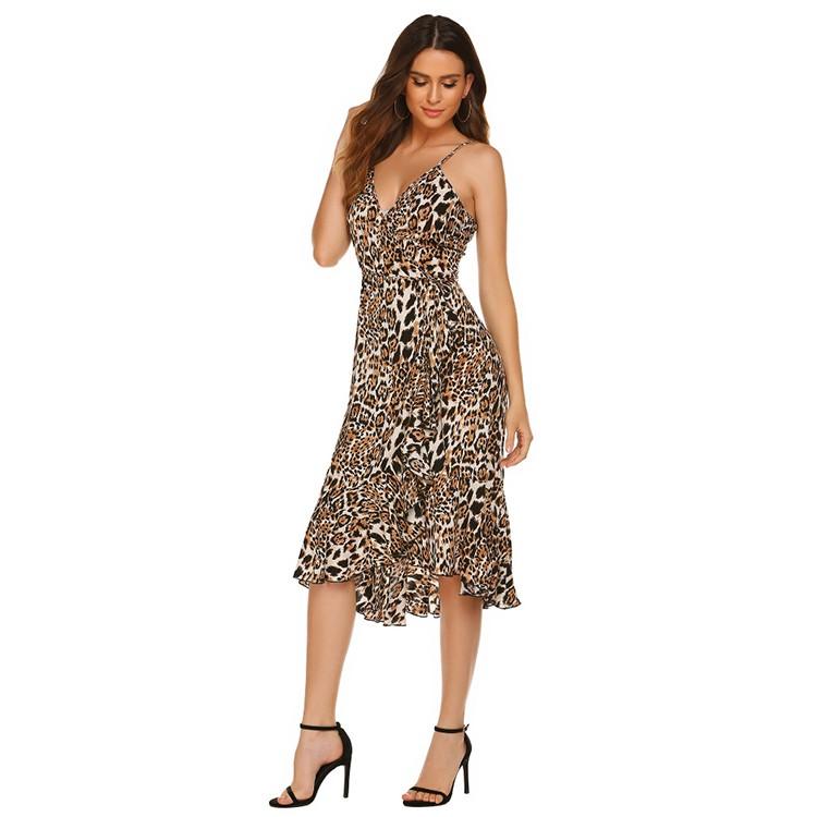 Summer Sexy Leopard Deep v Ruffles Dress For Women