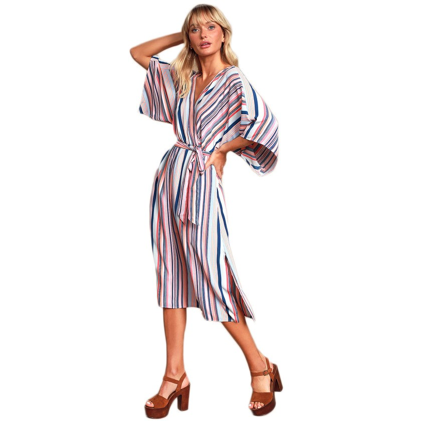 Summer Fashion Women Stripe Casual Dress Belt Long Sleeve Dress