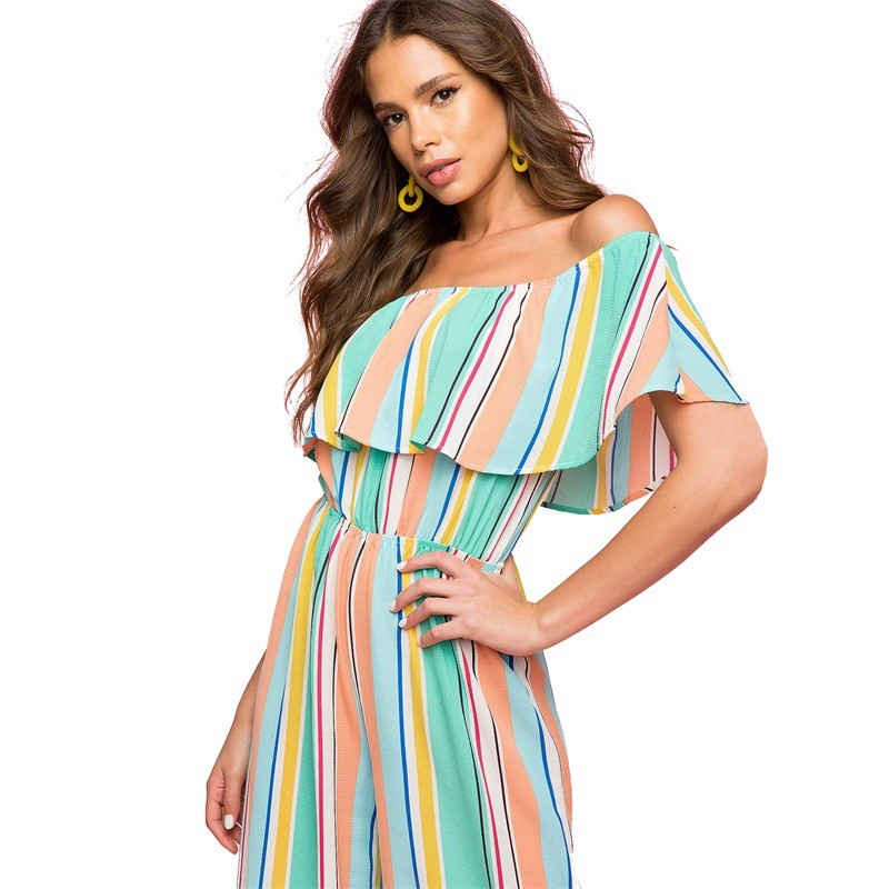 Summer Stripe Off Shoulder Sexy Jumpsuit For Women Fashion Casual Jumpsuit