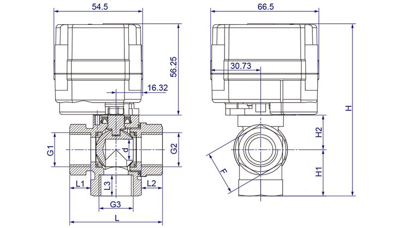 OSAWQ914/15系列微型电动三通球阀(立式三通)