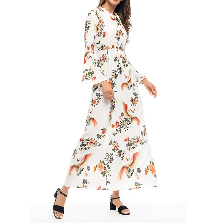 Latest Floral Print Flare Sleeve Tie Neck Casual Dress