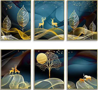 现代麋鹿装饰画3d贴图