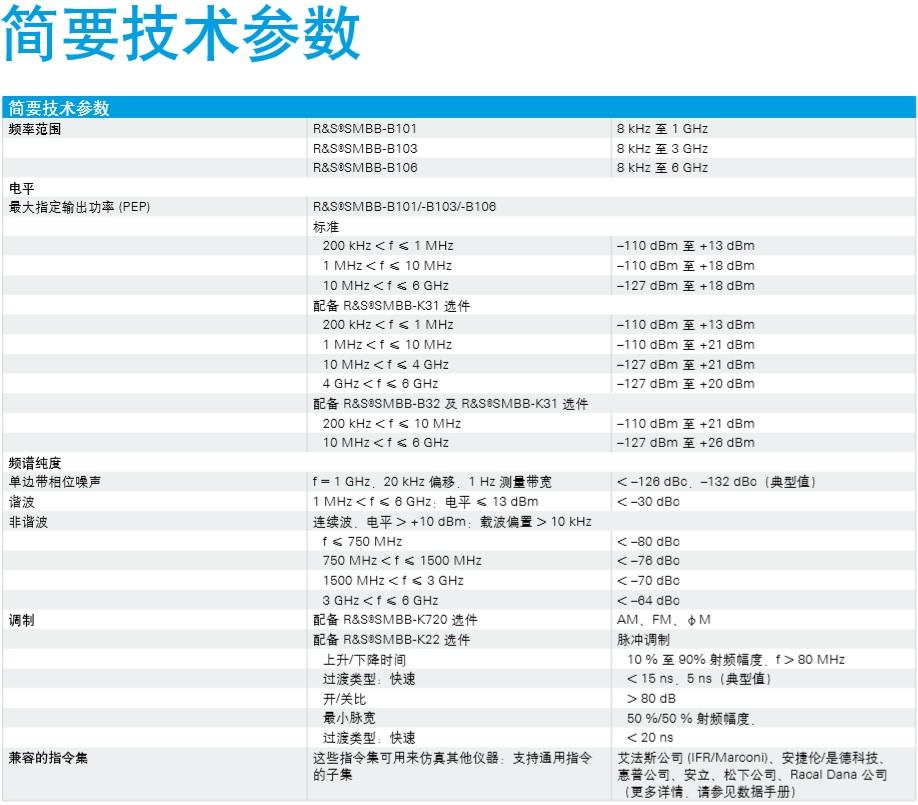 SMB100B 8kHz-1GHz/3GHz/6GHz