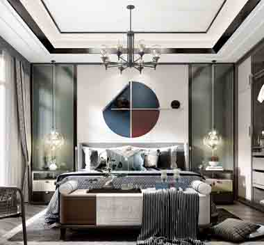 新中式轻奢卧室3d模型