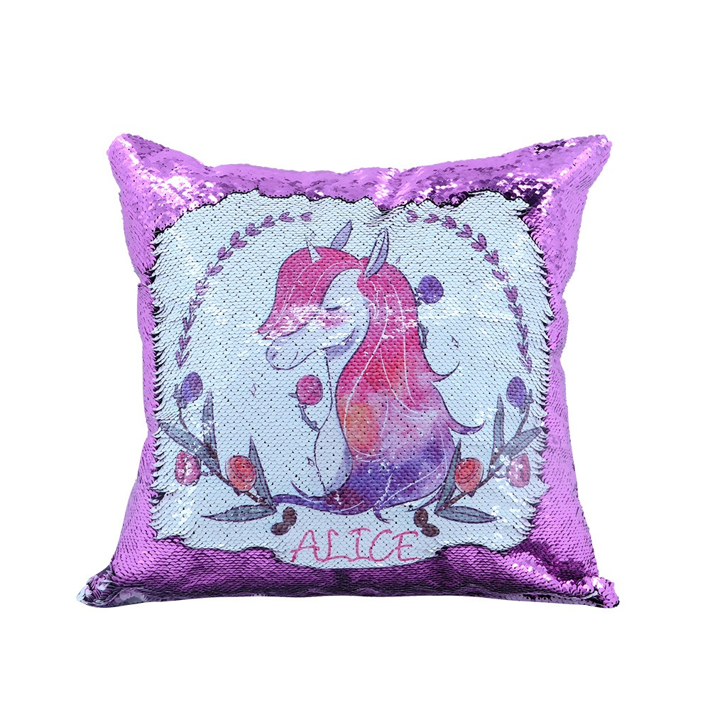 Sequin Pillow Case-Square Shape-Purple