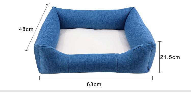 Size for Linen Bumper Pet Bed-Blue-M