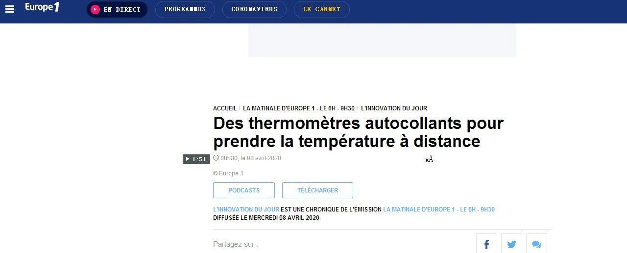 """法国媒体也在关注!称赞复旦微电子核芯技术测温贴为""""革命性的测温方法"""""""