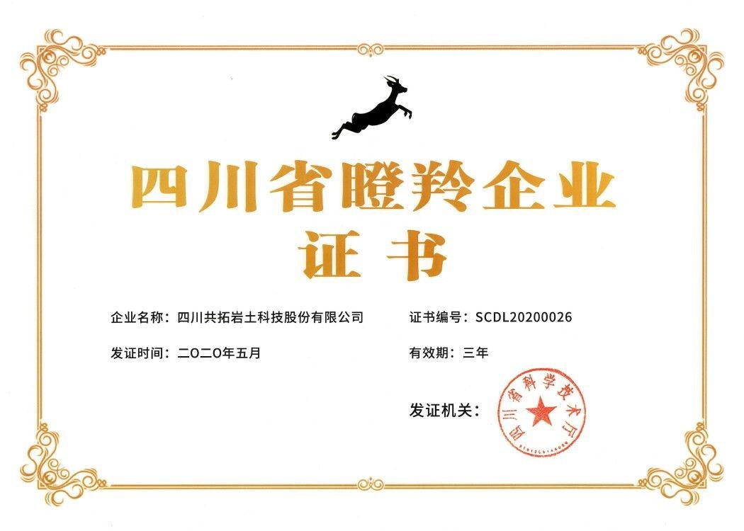 四川共拓岩土科技股份有限成功入选四川省首批瞪羚企业