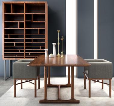 中国HC28新中式餐桌椅装饰柜3d模型