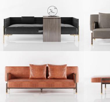 中国Maxmarko木美多人沙发组合3d模型