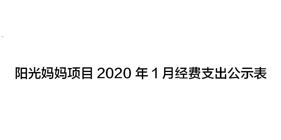 阳光妈妈项目2020年1月经费支出公示表