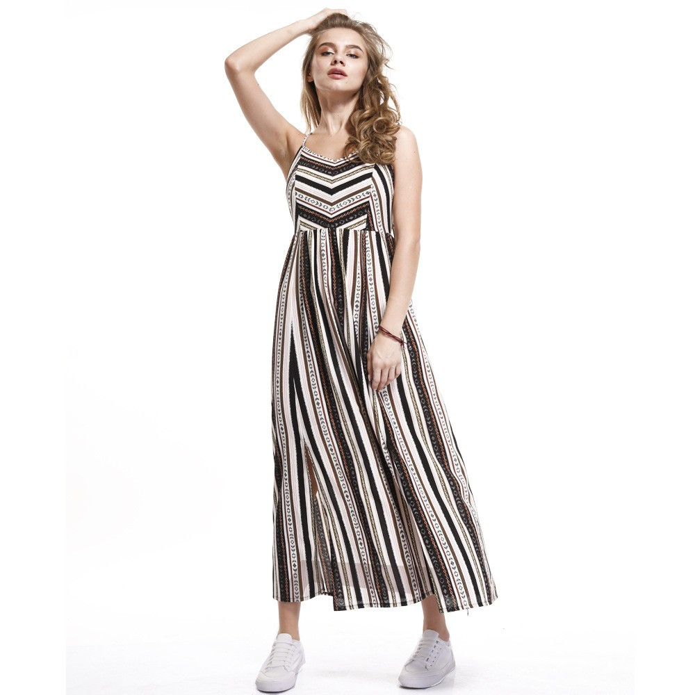 Summer Women Sexy Stripe High Quality Casual Maxi Dress Fashion Bandage Dresses