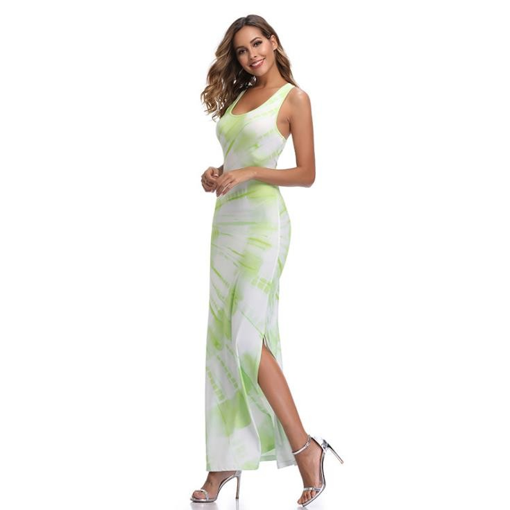 Women Casual Print Sexy Vent Dress Bohemian Bodycon Long Dress