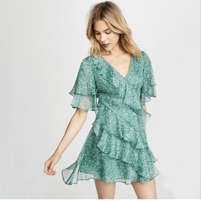 Spring Summer Floral Print Ruffles V-neck Chiffon Mini Dress Women Casual Dress