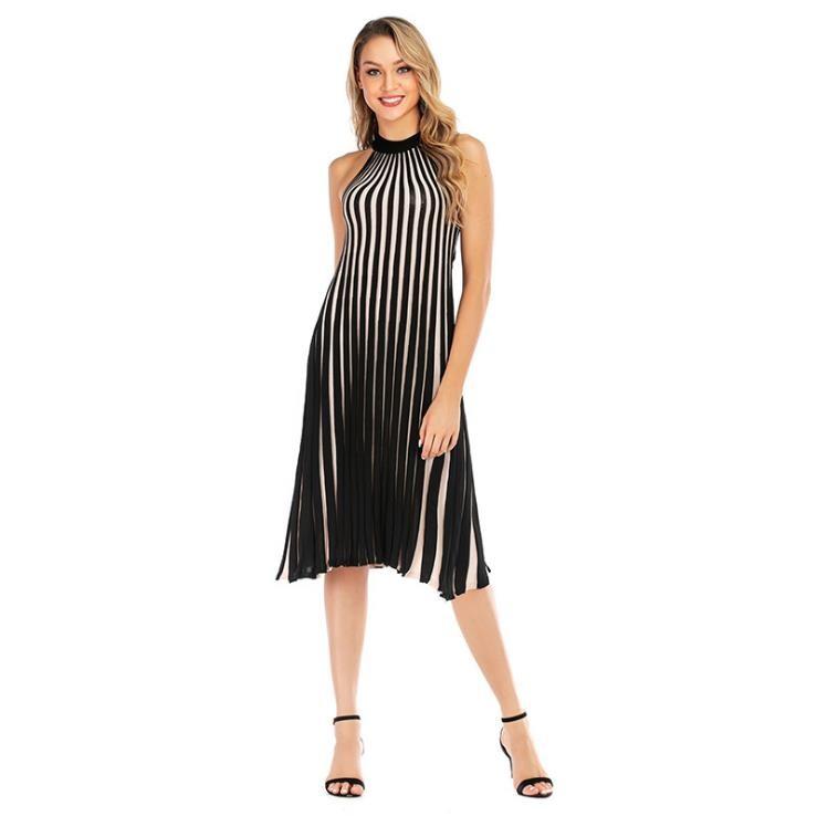 Women Plus Size Stripe Halter Ruffles Elegant Dress Knit Casual Dress