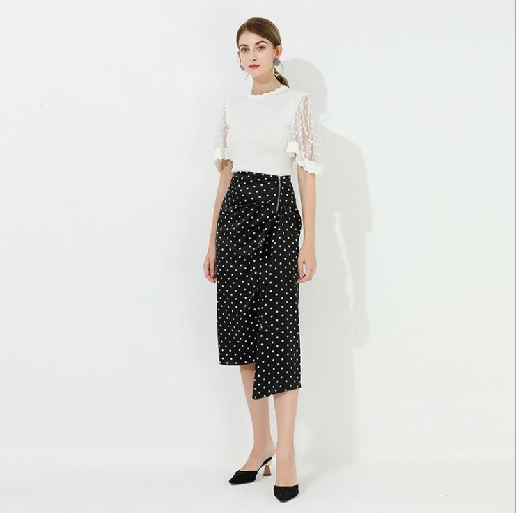 Summer New Style Women High Waist Dot Irregular Skirt