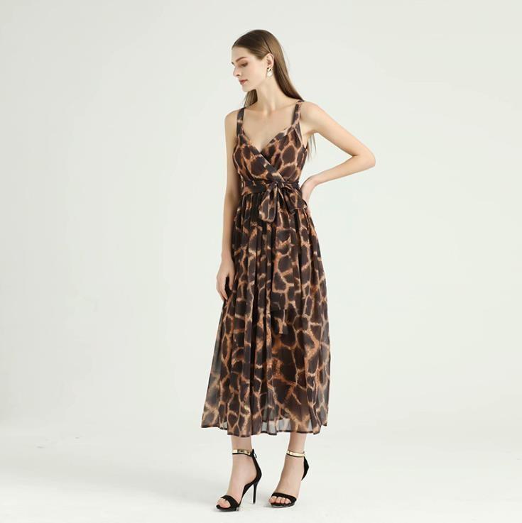 Summer V neck Sexy Leopard Print Casual Dress Fashion Halter Belt Dress