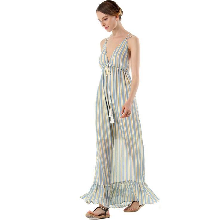 Summer Sexy Backless Stripe Ruffles Maxi Dress Beachwear Tassel Belt High Waist Dress