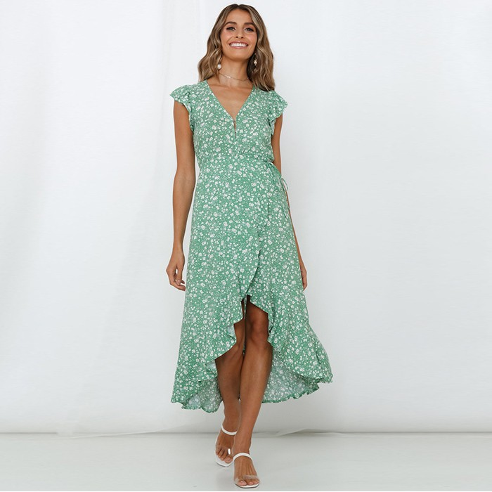 Fashion Floral Print Ruffles Asymmetrical Dress High Quality Chiffon Ruffle Dress Sleeve For Women
