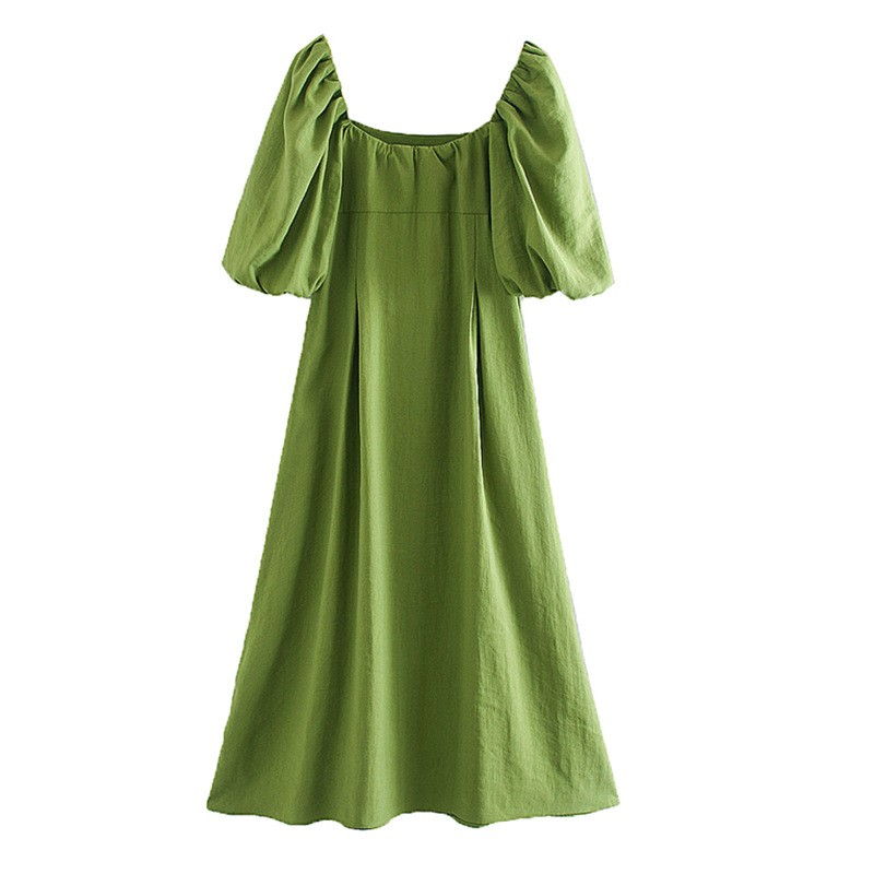 2020 Fashion Vintage Square Neck Puff Sleeve Dress Casual Maxi Dress For Women