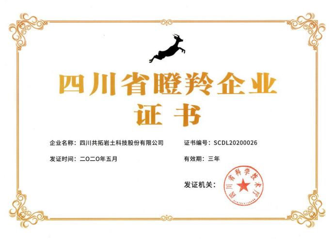 四川共拓岩土科技股份有限公司成功入选四川省首批瞪羚企业