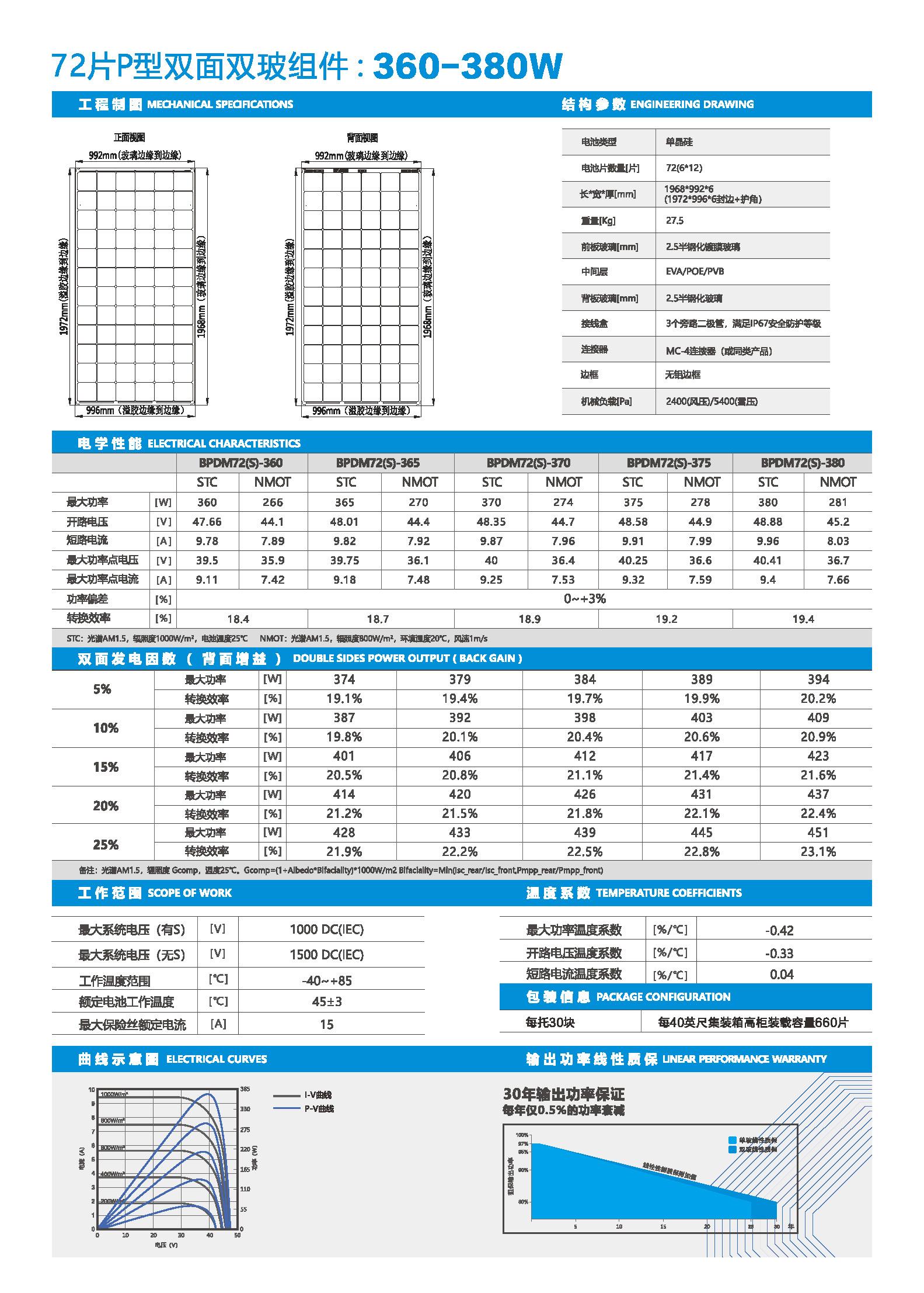 BPDM72-360-380-72片P型单晶双面双玻