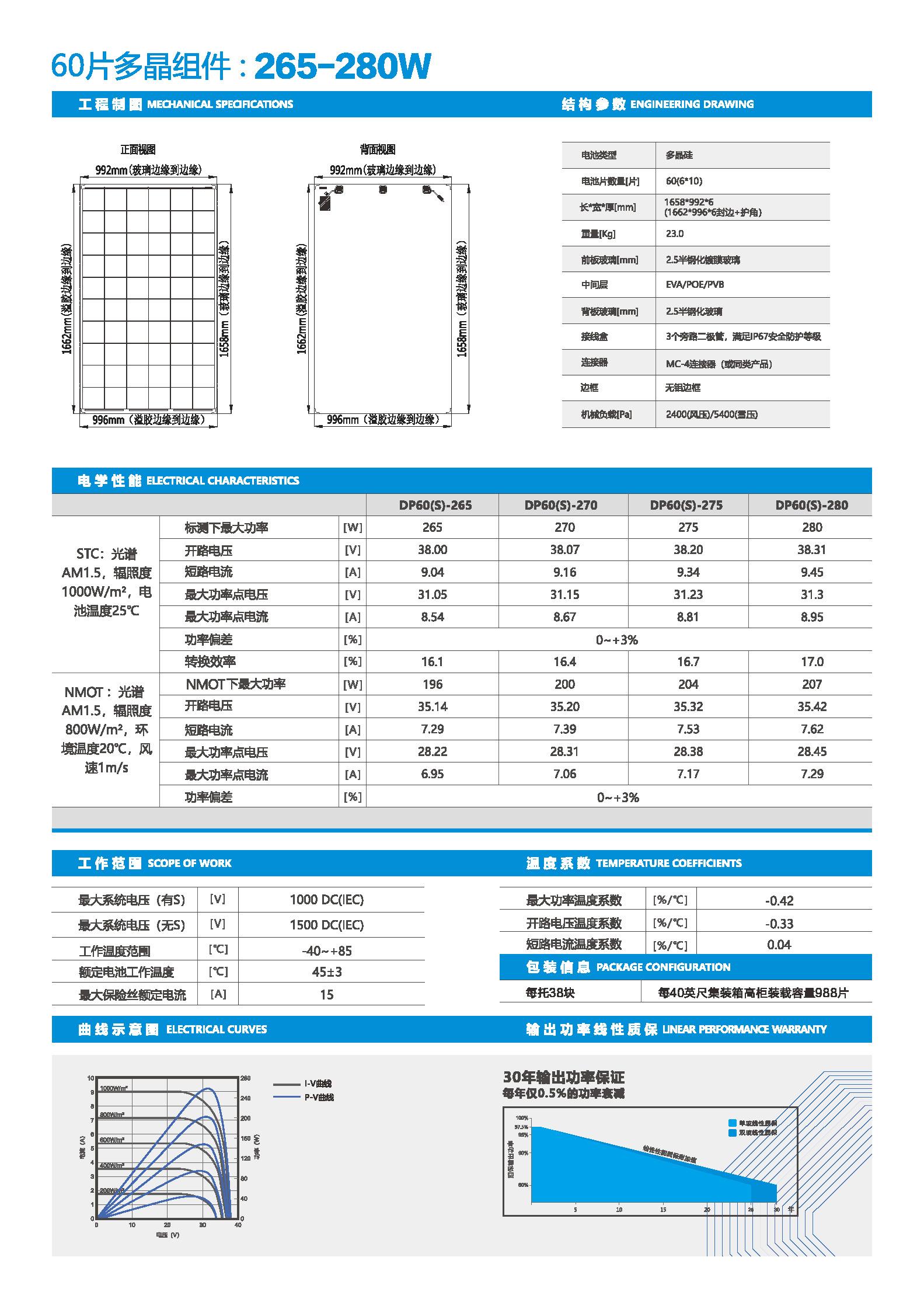 DP60-265-280-60片多晶双玻