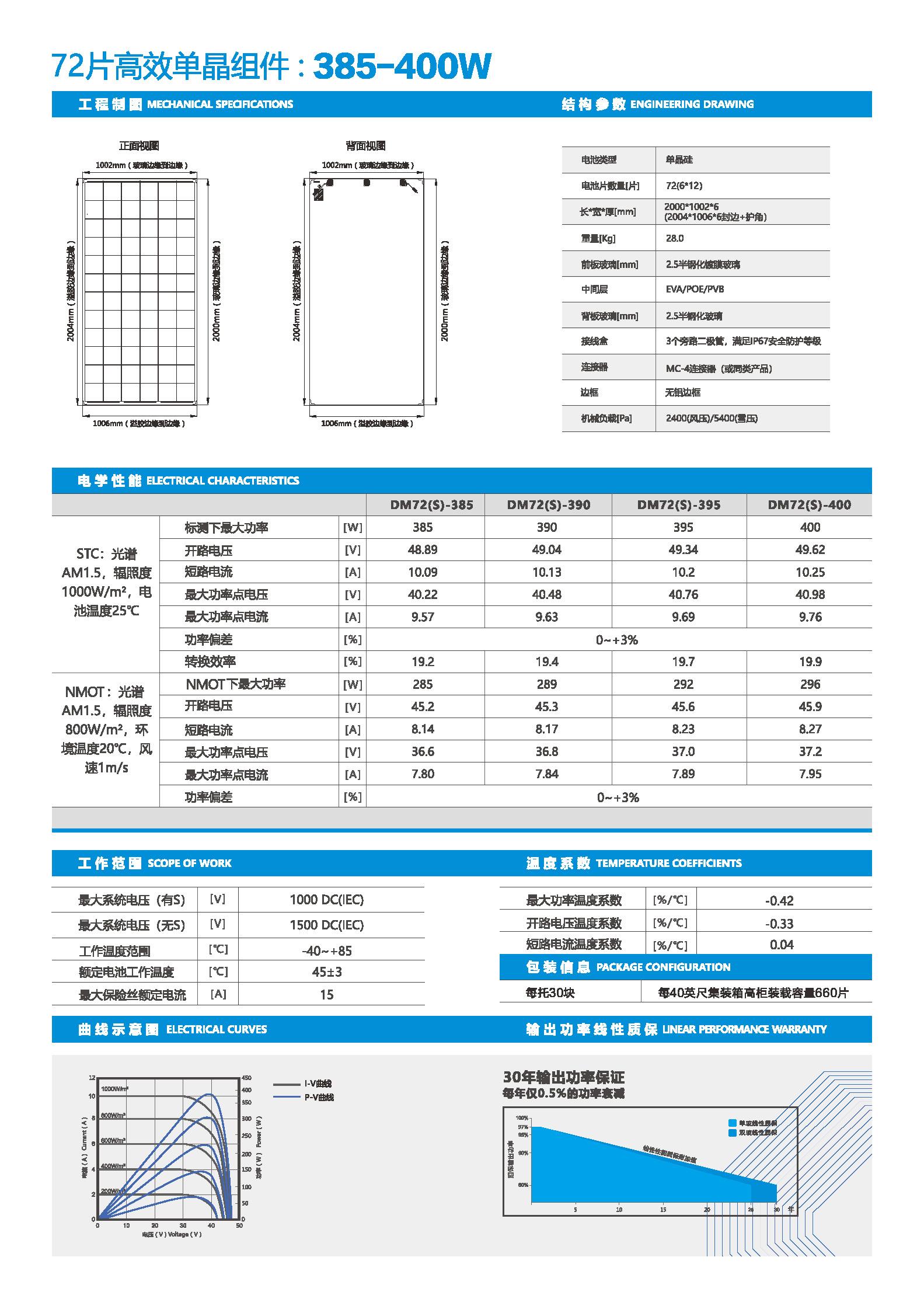 DM72-385-400-72片单晶双玻
