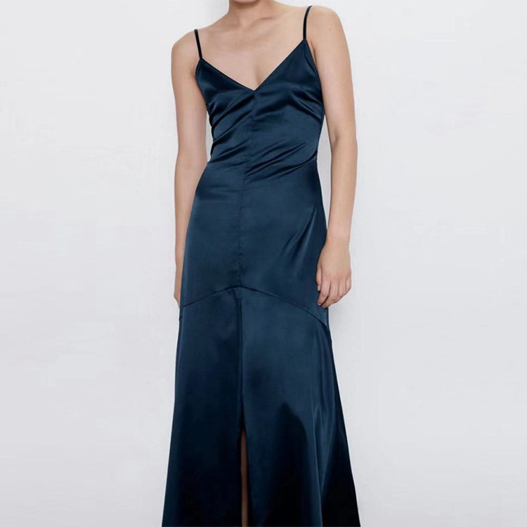 Fashion Halter V neck Sexy Backless Vent Long Long Dress Silk Evening Party Dress